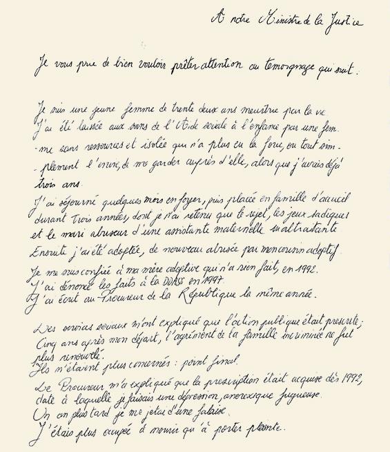 La lettre de Marie-Sonia