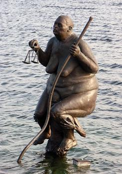 Survival of the fattest statue